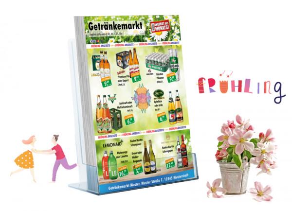 Karl Getränke-Flyer Frühling( A4 Hochformat / 4 Seiten )