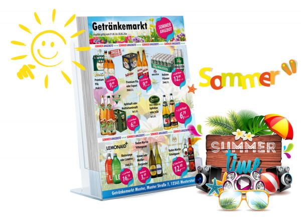 Karl Getränke-Flyer SOMMER ( A4 Hochformat / 4 Seiten)